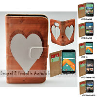 For HTC Series Mobile Phone - Timber Heart Theme Print Wallet Phone Case Cover