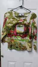 Take Two Floral Garden Theme Sequin Blouse Size PL WC1163
