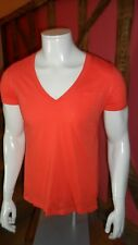 Medium V Neck Plain T Shirt in Bright Orange 100% Cotton by Gap