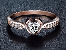 Herz Ring Rot RoseGold 18K pl. Kristall Verlobungsring Valentinstag Geschenkidee