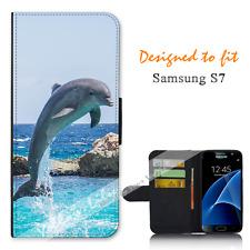 Samsung Galaxy S7 Wallet Flip Phone Case Cover Dolphin Smile Y00789