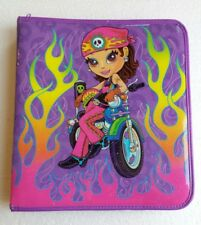 Lisa Frank Biker Chick Hottie 3 Ring Binder Tattoo Flame Harley Skull Motorcycle