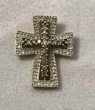 Brown & White Natural Diamond 14K Yellow Gold Cross Pendant