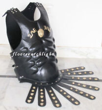 BLACK GREEK ROYAL MUSCLE ARMOR CUIRASS WITH LEATHER BELT RE-ENACTMENT COSTUME