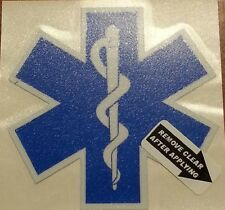 "Star of Life, Decal, EMS, Reflective 2.75"" Wide darker blue  #EM34"