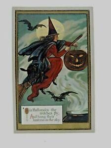 Halloween Postcard Witch Rides w Black Cat JOL Bats RARE GERMAN, unknown pub.