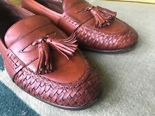 10 M Cole Haan Bragano Woven Tassel Loafers Men's Vintage Brown Shoes