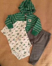 Carters Baby Boy 12 Month 3-Piece Dinosaur Theme Outfit Jacket Pants Body Suit