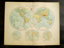 Antique BIG SIZE map. THE WORLD. c 1896