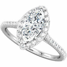 2.03 ct Marquise cut Diamond Halo Engagement 14k White Gold Ring H SI1