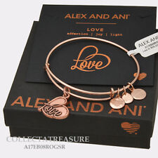 Authentic Alex and Ani Love IV Rose Gold Charm Bangle