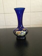 Blue and gold floral glass flower vase Stands 6in High