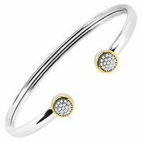 1/5 ct Diamond Circle Cuff Bracelet in Sterling Silver & 14K Gold