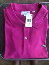 Lacoste Men's Short Sleeve Pima  Polo Shirt Regular Fit Fushia Pink