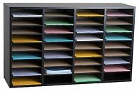 AdirOffice Black 36 Compartment Wood Adjustable Literature Organizer, School