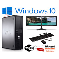 "Cheap Dell Dual Screen  17"" TFT Desktop PC Computer | 250GB 4GB Windows 10 WiFi"