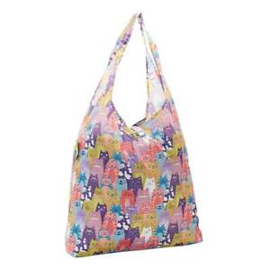 Multi Col Cats Print By ECO CHIC Reusable Folding Shopping Bag 100% Recycled