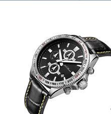 Hombre Nuevo Acero Inoxidable Cronógrafo Reloj De Plata Tw Negro Cuero Speedmaster