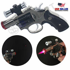 Revolver Lighter Laser Pointer Gun Gas Butane Refillable Windproof Jet - Black