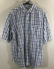 Ecko Unltd. Rhino White Blue Black Plaid Cotton Short Sleeve Shirt Mens Medium M