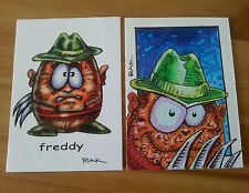 FREDDY KREUGER EGGHEAD HAND DRAWN COLOUR SKETCH CARD BY RAK ACEO PSC