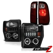 08 09 10 F250 F350 FX4 2X Angel Eye Projector Headlights LED Bulbs Tail Lights