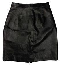 Neutral Zone A-Line Faux Leather Skirt Size 13/14 Black Lined Back Zipper Vegan