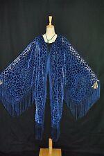 Classic Navy Blue Leopard Pattern Burnout Velvet Fringe Kimono Jacket Duster