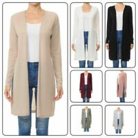 Women Casual Solid Long Sleeve  Lightweight Open Front Side Slit Cardigan(S-3XL)