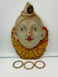Clown Ring Toss Game Rare Circus Antique 1900 Paper Lithograph Paper Mache