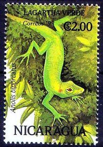 Nicaragua 1993 MNH, Reptiles Neotropical green anole Lizard Anolis Biporcatus