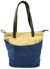 Two Tone Tuk Tote Bag Canvas Carryall  - Navy Blue with Sand Beige Panel