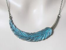 Feather Necklace Feather Jewelry Boho Chic Jewelry Leaf Necklace Leaf Jewelry Bo
