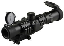 SNIPER Tactical Rifle Scope 1-4X28 Cantilever Mt Etched Chevron Glass Reticle