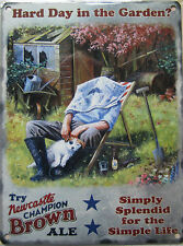 New 15x20cm Newcastle Brown Ale deckchair gardener small advertising wall sign