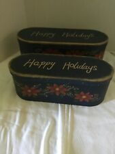 Vintage Looking Storage Gift Decor Boxes  Set Of 2 Happy Holidays