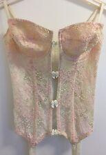 Victoria's Secret Cream/Pink Lace Underwired Corset Basque Suspenders 36C