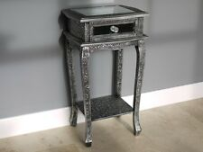 Blackened Silver Embossed Mirrored Plant Stand With Drawer Marrakesh
