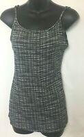 Ann Taylor Loft Womens Black & White Hatch Pattern Cami! Adjustable Straps. Sz M