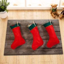 Home Nonslip Bathmat Bathroom Floor Rug Carpet Red Xmas Socks Memory Foam Mat