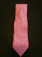 Hermes Paris 5187 IA Link Pattern Red Color Silk Necktie Tie Made In France