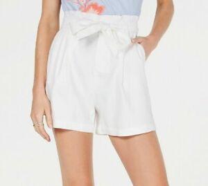 INC Women's sz M White Linen Blend High-Waist Shorts -NWT - $54
