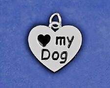 Dog Charm Pendant Sterling Silver Pl Reversible I Love My Puppy Paw Print Heart