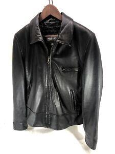 Women's EUC Wilsons leather Biker Motorcycle Jacket Black Sz XL