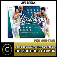 2019-20 PANINI ABSOLUTE MEMORABILIA 5 BOX HALF CASE BREAK #B264 - PICK YOUR TEAM