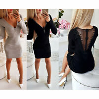 Women Sexy Bodycon Knit Sweater Floral Zipper Deep V Slim Mini Dress Party Club