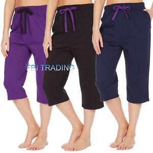 Womens Ladies Pyjama CAPRI CROP SHORTS  Lounge Pants Bottoms Trousers SLEEPWEAR