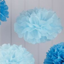 5 Baby & Dark Blue Tissue Paper Pom Poms