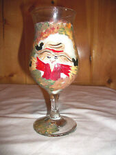 HANDPAINTED SCARECROW WINE GLASS CANDLE