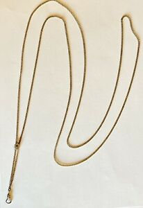 "Antique Ladies Pocket Watch Slide Chain 50"" Long Rose Gold Filled with Garnet"